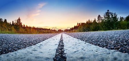 black road panorama on sunny summer