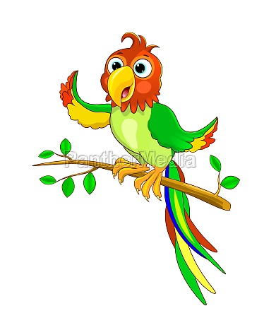 parrot sits on a tree branch
