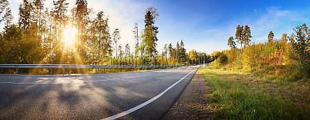 asphalt road panorama in countryside on