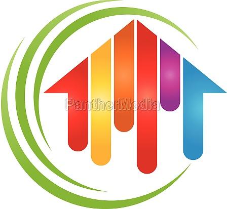 house in paint rainbow painter logo