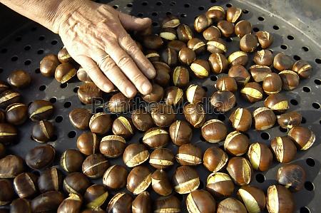 a chestnut vendor roasting chestnuts