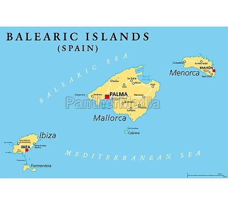 balearic islands political map mallorca ibiza
