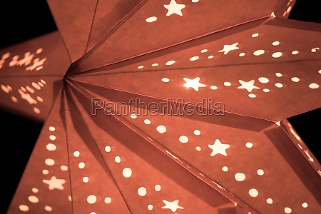 colorful orange xmas lantern star at