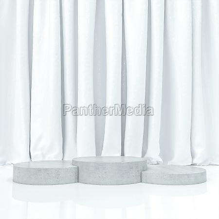 white curtain and 3 station podium