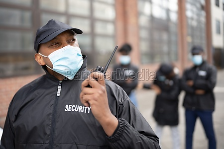african american security officer at event