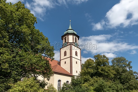 picturesque church tower behind large deciduous