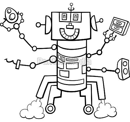 cartoon robot fantasy character coloring book