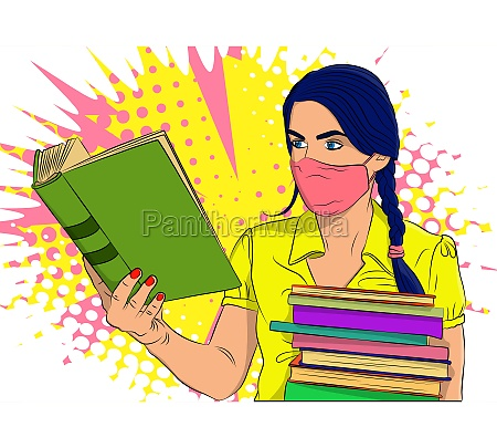 female student girl carrying a stack