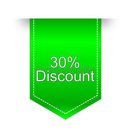 30 discount label green illustration