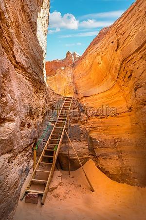 sandy canyon in desert