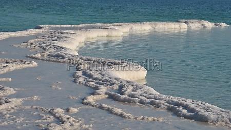 dead sea shore minerals and salt
