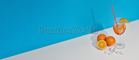 fruit drink with ice and oranges