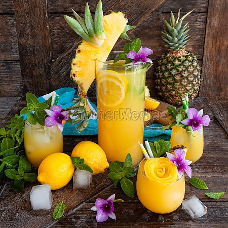 refreshing cocktail with pineapple