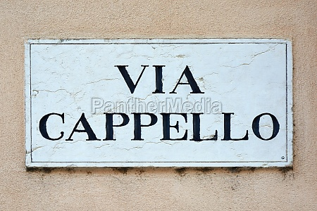 street sign of the via cappello