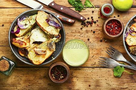 appetizing baked potatoes homemade food