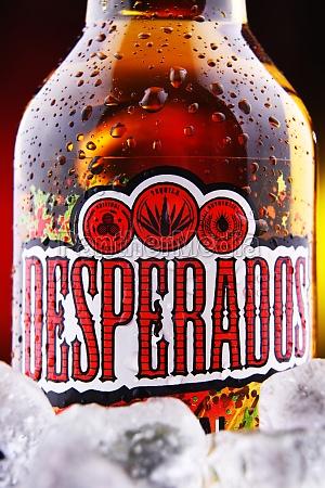 bottle of desperados beer in crushed