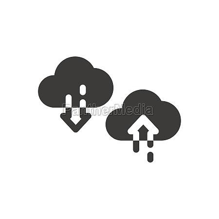 cloud with arrow black vector icon