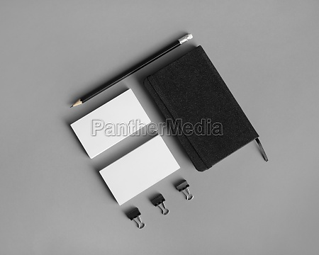 business cards notebook pencil