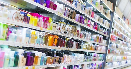 cosmetics and skincare products put up
