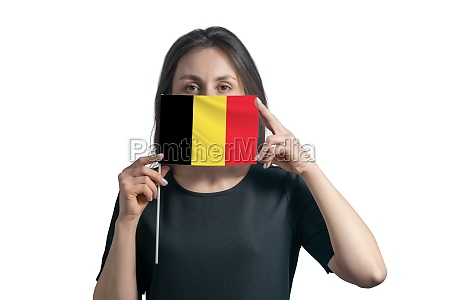 happy young white woman holding flag