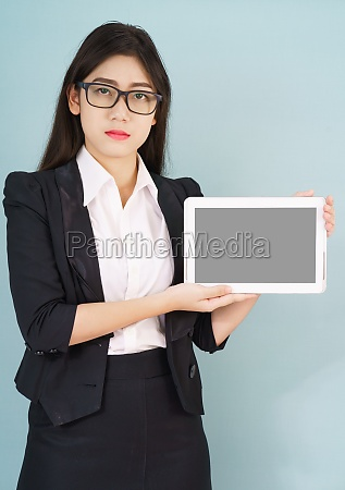 young asian women in suit holding