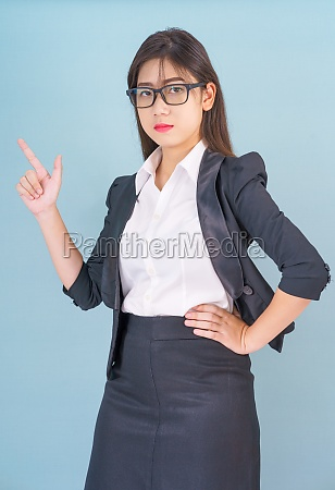 business woman in suit with finger