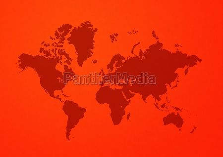world map on red wall background