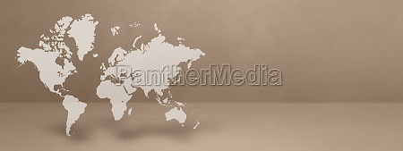 world map on beige wall background
