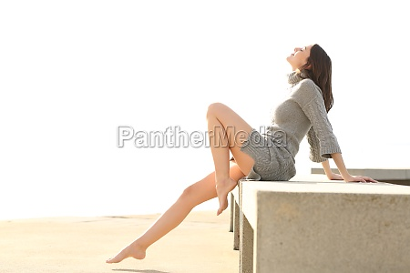 beautiful woman with long waxed legs