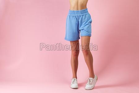 beautiful long woman legs in shorts