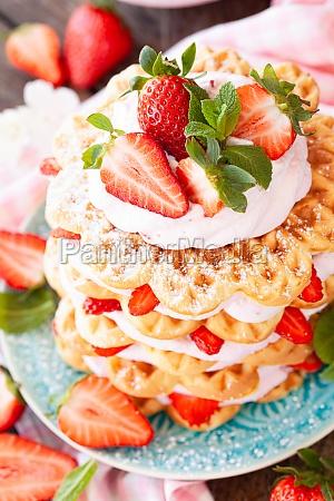 waffles with strawberry cream
