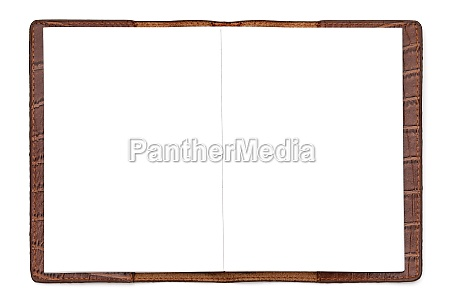 brown leather notebook isolated on white