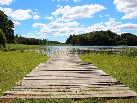empty endless svimming pier in bright