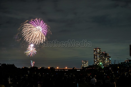 tama river fireworks display of fireworks