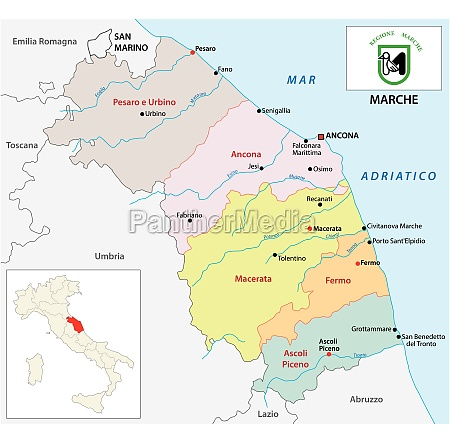 marche administrative and political map with