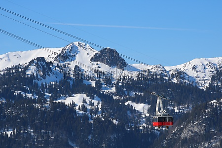 chaserrugg cable car and snow covered