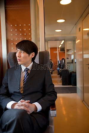 a business person by train