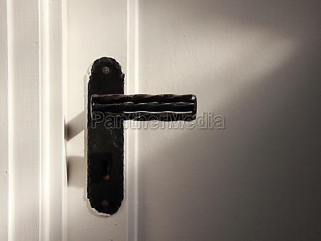 vintage old wrought black iron door