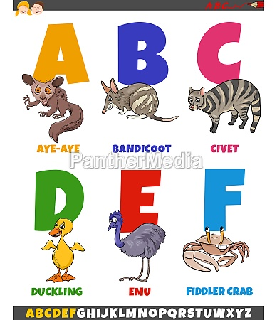educational cartoon alphabet collection with comic