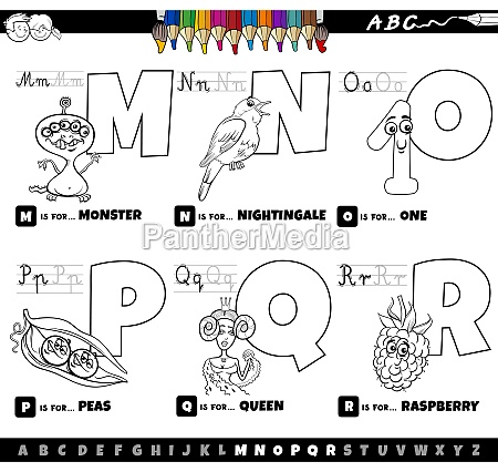educational cartoon alphabet letters set from