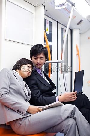 young woman sitting take a nap