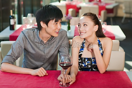 a couple dining in a restaurant