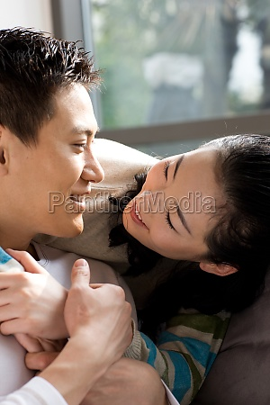 oriental two people intimacy happy smile