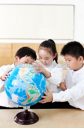 three thinking oriental asian look girl