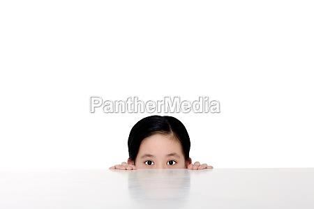 asian peeking alone portrait asia head