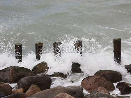 breakwater poles and rocks at northern