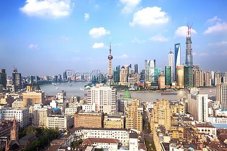 shanghai central building development modern cityscape