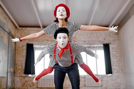 two mime artists airplane parody scene
