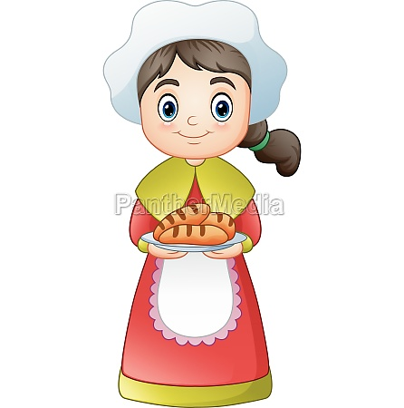 pilgrim girl carrying a delicious bread