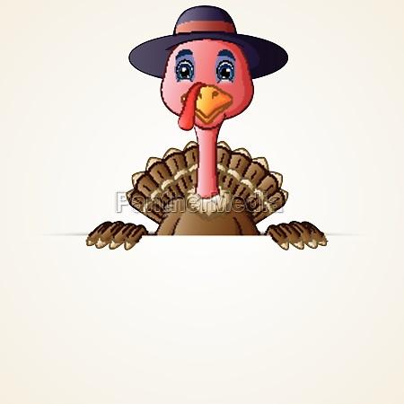 happy pilgrim turkey bird cartoon holding
